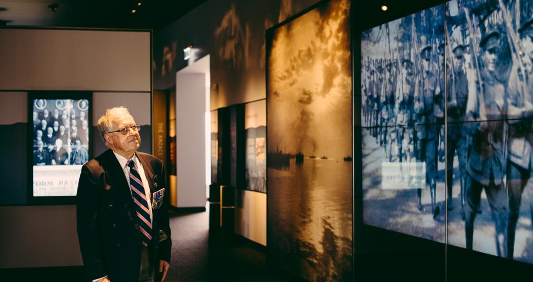 Looking at the National Anzac Centre displays