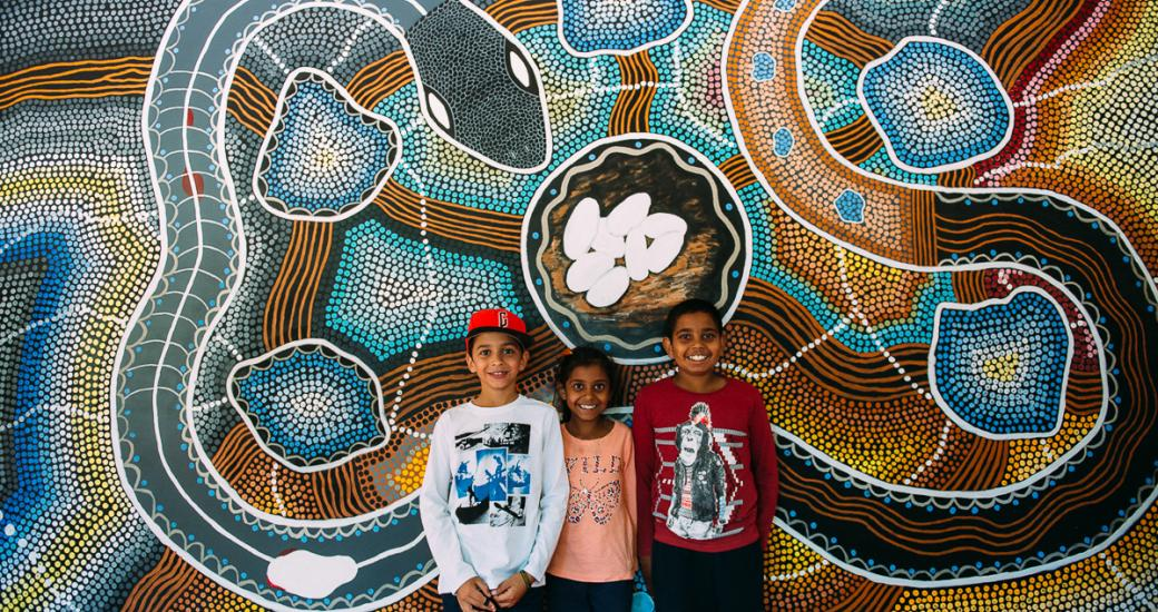Children with Aboriginal art at Kodja Place