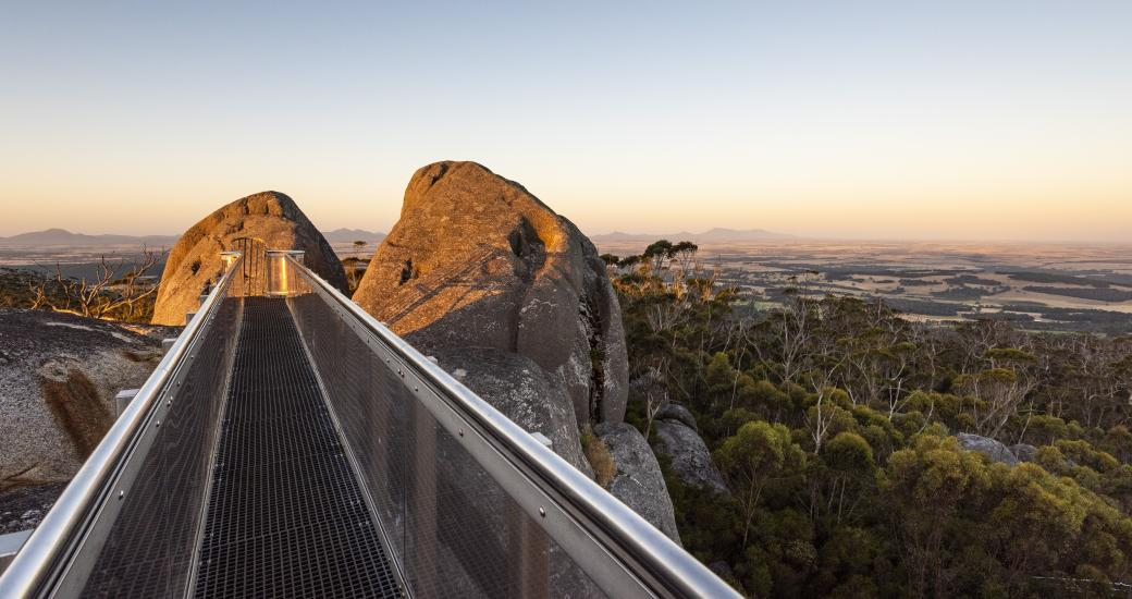 landscape image of the walkway at the top of Castle Rock on the Granite Skywalk