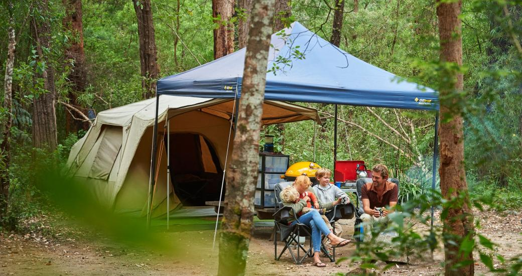 A family camp in the Australian bush