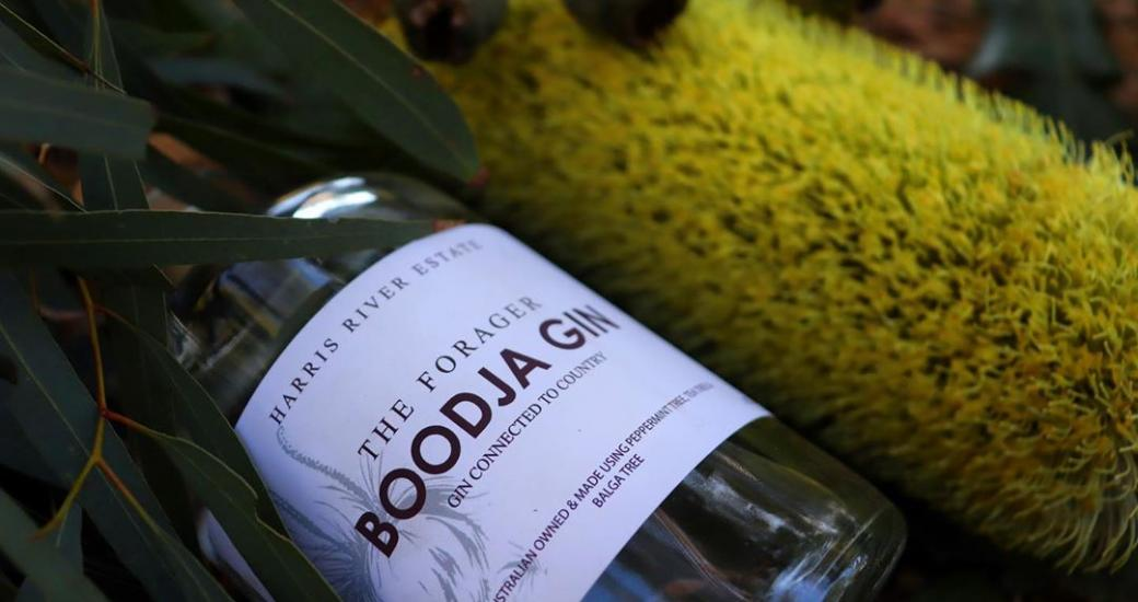 close up of a limited edition Boodja gin bottle