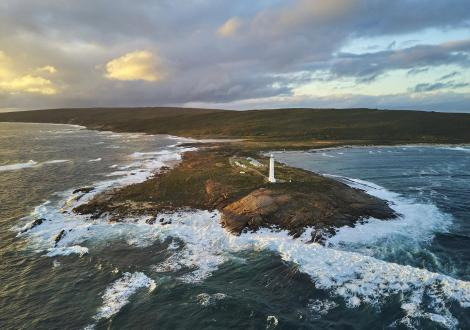 Drone image showing Cape Leeuwin Lighthouse from off shore