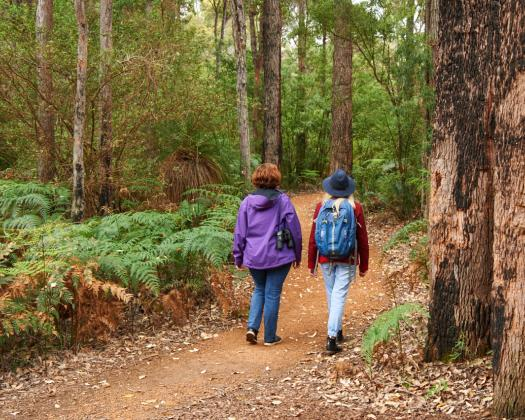 Two women walk through a forest