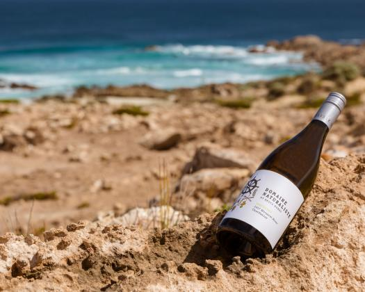 Bottle of Domaine Naturaliste wine sitting in sand with blue ocean in the background