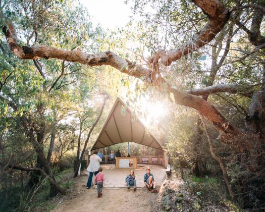 Teepee learning space in the forest outside Ngilgi Cave in Margaret River