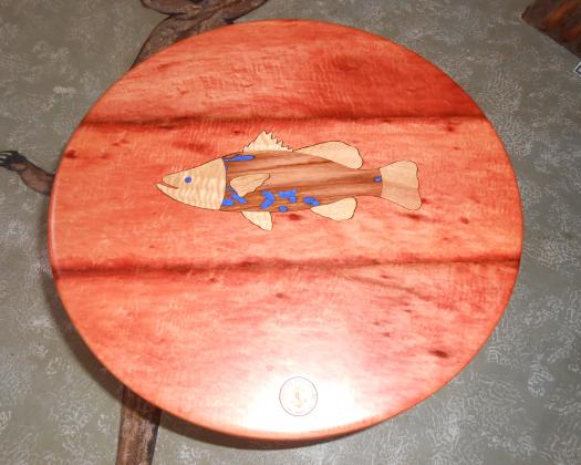 Jarrah table with fish inlay.