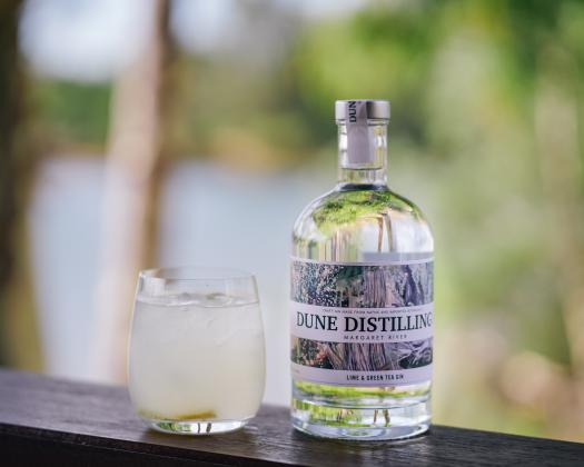 Dune Distilling Co bottle of Lime & Green Tea Gin
