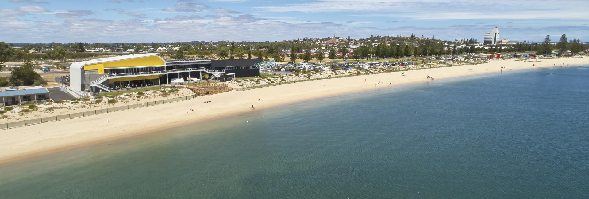 drone image showing Koombana Bay foreshore in Bunbury with city in background