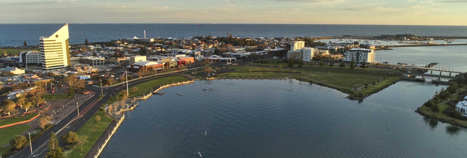 a drone image shows Bunbury city sitting on a peninsula with water on each side